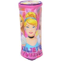 HMI Original Disney & Marvel Licensed PVC Pencil Pouch / Pencil Bag, Round Cylindrical Shaped (Princess)
