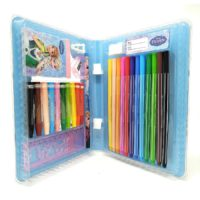 HMI Original Disney Frozen Licensed Colour Drawing Set with Colour Pens, Oil Pastels and other required Stationery in box packing, 28 Pieces Set