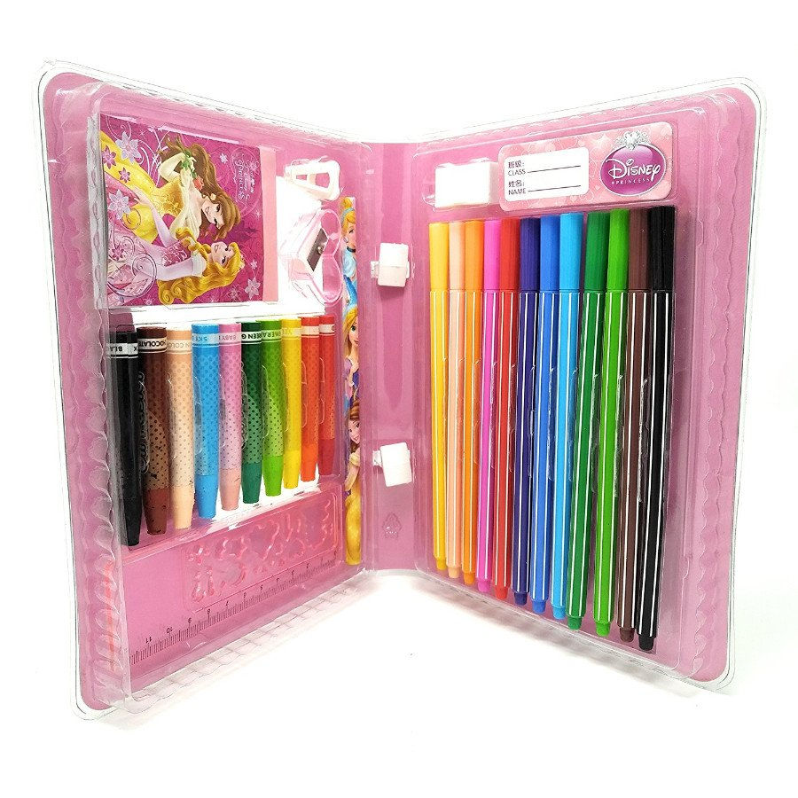 hmi original disney princess licensed colour drawing set with colour pens oil pastels and other required stationery in box packing 28 pieces set