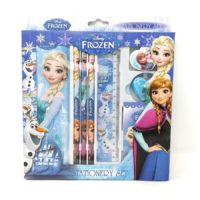HMI Original Licensed Disney Frozen Stationery Set with Metal Pencil Box and other required Stationery in box packaging, 8 Pieces Set