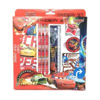 HMI Original Licensed Disney Cars Stationery Set with Metal Pencil Box and other required Stationery in box packing, 8 Pieces Set