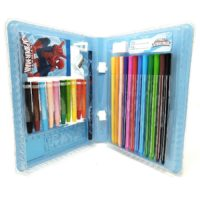 HMI Original Marvel Spider Man Licensed Colour Drawing Set with Colour Pens, Oil Pastels and other required Stationery in box packing, 28 Pieces Set