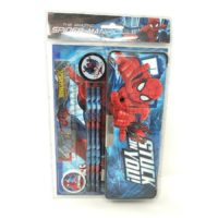 HMI Original Licensed Marvel Spider Man Stationery Set with Magentic Pencil Box, Note Book and other required Stationery, 8 Pieces Set